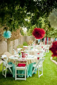 Tiffany Blue & Red Paper Pom Poms ♥ Garden Wedding & Party Decoration