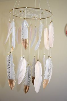 Feather Mobile, Baby Girl Mobile, Nursery Decor, Blush White Feathers, Gold Nursery Decor