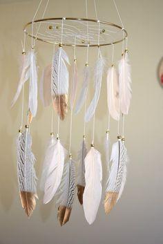 Feather Mobile, Baby Girl Mobile, Nursery Decor, Blush White Feathers, Gold Nursery Decor