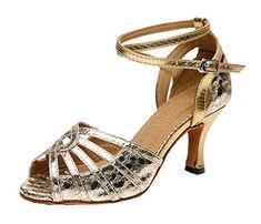 TDA Womens Mid Heel Gold Snakeskin Glitter Sequins Peep Toe Salsa Tango  Ballroom Latin Modern Dance Wedding Shoes 85 M US    See this great product. 453d92dc2