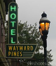 Night Shyamalan's FOX event series Wayward Pines returned to film on its block-long set on Pioneer Street in Agassiz this week. Like A&E's Bates Motel, the upcoming series is a cr… Episodes Series, Tv Series, Top Tv Shows, Matt Dillon, Hooray For Hollywood, Me Tv, Vintage Signs, Favorite Tv Shows, Signage