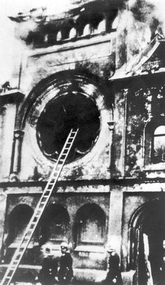 Munich, Germany, Temple 'Ohel Yaacov' Going up in Flames During the Kristallnacht Riots, November 9-10, 1938