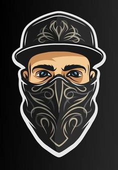 Illustration of A guy in a baseball cap, and a bandana with a pattern. On dark background. vector art, clipart and stock vectors. Titanic Tattoo, Gangster Drawings, Arte Yin Yang, Hood Wallpapers, Catrina Tattoo, Apple Logo Wallpaper Iphone, Game Logo Design, Black Background Images, Graffiti Wallpaper