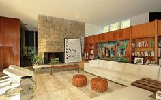 fireplace, mosaic, built-ins. Beverly Hills home designed by William Stephenson, 1956
