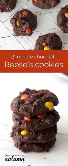 these chocolate reese's cookies are crazy delicious and only take 15 minutes to make! easiest cookie recipe ever.