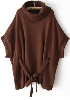 Coffee Drawstring Batwing Sleeve Loose Cotton Blend Sweater