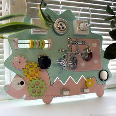 Купить Бизиборд ёжик. 40х50см - игрушка, для детей, подарок, розовый, игра, развивающая игрушка, слоник