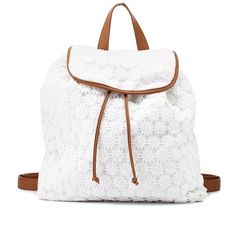 Charlotte Russe White Crochet Bucket Backpack by Charlotte Russe at... ($29) ❤ liked on Polyvore featuring bags, backpacks, accessories, bookbags, white, drawstring backpack, crochet backpack, bucket backpack, flower pouch and flap backpack