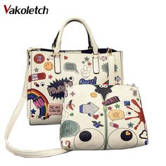 aadbb4f2ef8ae6 Luxury Handbag Brand Design Women Graffiti Printing Tote Shoulder Composite  Bag 2ps Cartoon Big Eyes Messenger