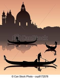 Vector - Venetian gondoliers - stock illustration, royalty free illustrations, stock clip art icon, stock clipart icons, logo, line art, EPS picture, pictures, graphic, graphics, drawing, drawings, vector image, artwork, EPS vector art