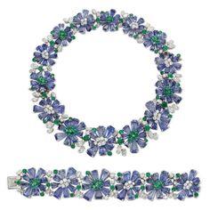 Sapphire and diamond demi parure by Oscar Heyman