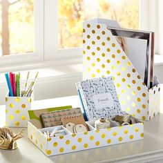 Printed Paper Desk Accessories - Gold Dot #pbteen