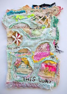 This is the equivalent of an acrylic mixed media piece only using textiles. I can so see this as an art journal page!
