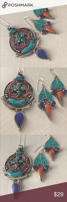 """Pretty medallion with red coral turquoise lapis Tibetan medallion turquoise lapis lazuli and coral approximately 3""""1/4 long to over 2"""" wide big bold beautiful!!!! Earrings are 3"""" long substantial not heavy but not light either ethnic artisan handcrafted silver and copper chain is approximately  18/19"""" long Nwot Jewelry Necklaces"""