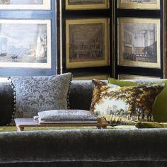 Royal Collection Windsor Velvet Moss Cushion | Designers Guild