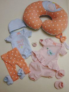 """OOAK Baby Doll Clothes 10"""" Tiny Miracle Mini Reborn Outfit Ten Piece Layette Set"""