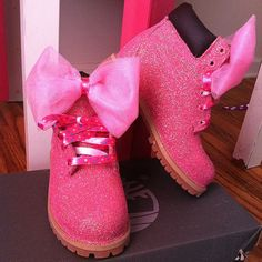 Authentic Pink Glitter Timberland Boots by OneCraftyChicLLC