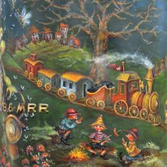 Jerry's Railroad Can - – Jo Sonja's Face Painting Tutorials, Painting Patterns, Tole Painting, Artist Painting, Santa Ornaments, Doll Tutorial, Flower Fairies, Wood Patterns, Metallic Paint