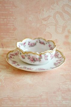 Stunning Antique Haviland Limoges Porcelain Ramekin and Saucer