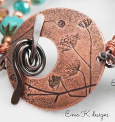 Baby's Breathe Toggle Focal Clasp handmade by Ema Kilroy sra Ema Kdesigns natural impressions copper component jewelry supplies