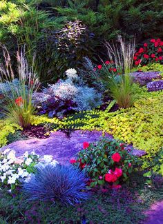 A Denver perennial garden planted with a mix of ornamental grasses, flowers, and landscape boulders Landscaping With Boulders, Greenwood Village, Outdoor Life, Outdoor Decor, Flower Garden Design, Landscape Services, Colorful Garden, Ornamental Grasses, Yard Art