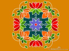 Beautiful Dotted Lotus Rangoli Design by sumitha. Read full article: http://rangolidesign.com/beautiful-dotted-lotus-rangoli-design-by-sumitha | more http://rangolidesign.com/rangoli-designs