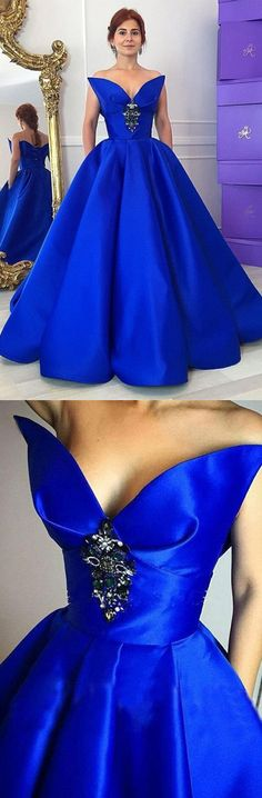 Ball Gown Sweetheart Long Royal Blue Pleated Prom Dress with Crystal Floral Pin Pockets prom,prom dress,long prom dress,prom gown.prom gowns,2017 prom dress