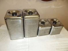 Vintage-Mid-Century-1950s-Lincoln-Beauty-Ware-4-Pc-Chrome-Metal-Canister-Set on ebay.com