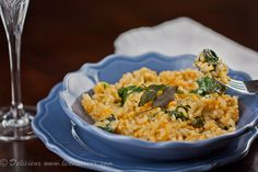 Pumpkin and baby spinach risotto! Can't get enough pumpkin.