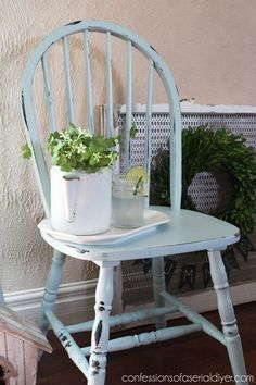 shabby chic prim shaker style country farmhouse style for home interiors furniture ideas Robin's Egg Blue Chair Makeover