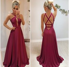 satin Criss Cross Back Prom Dress with Slit, Sexy Sleeveless Long Evening Party Dress Elegant Dresses, Cute Dresses, Beautiful Dresses, Formal Dresses, V Neck Prom Dresses, Evening Dresses, Bridesmaid Dresses, Style Outfits, Ball Gowns