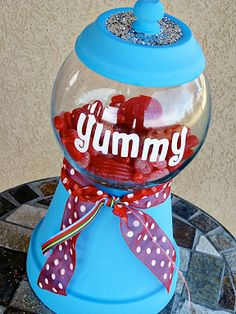 Yummy Candy Jar, clay pot, DIY, terra cotta planters, garden containers, candy jar, food, candy
