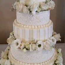 220x220 sq 1432566222176 white lace with white roses
