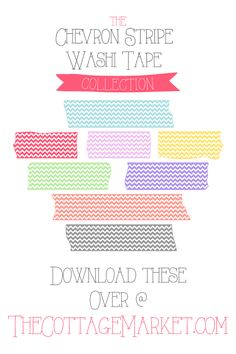 FREE Fun Chevron Stripe Ribbon Collection of Washi Tape!  You can print or use digitally for fun additions to your collages...blog posts and more!  ENJOY!