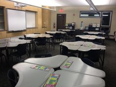 Our new classrooms at Valencia Valley School, made possible by Measure E, include student desks that allow creative, flexible seating and a variety of work group configurations.  On a recent walkthrough of the project members of the Measure E Citizens Oversight Committee found examples of how desks will be set, moved, and used as needed for lessons and activities in a 21st century learning environment.