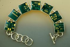 Circuit Board Green and Gold Bracelet - This bracelet is handmade from recycled motherboards!