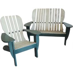 Adirondack Settee & Matching Chair From Maine In Original Paint