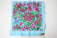 Blue Pink Animals Embroidered Fabric Thailand Hmong Textile Fair Trade (TX810-BR)