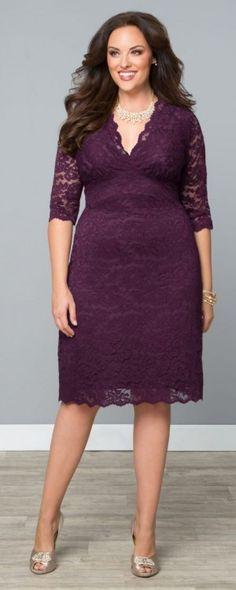 Scalloped Lace Cocktail Evening Dress, Piercing Plum (Womens Plus Size)