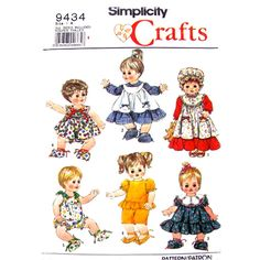 Baby Doll Clothes Pattern Simplicity 9434 Sun Dress Romper Size 14 to 18 Inch Doll UNCUT - product images  of