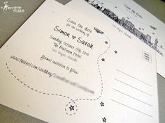 Las Vegas Save the Date postcards by Architette Studios