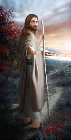 Beautiful Christian art of Jesus holding a shepherds staff.