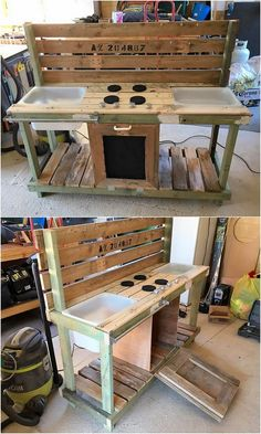 Coming to the next, we would talk about the finest creation of the wood pallet in the shape of kitchen counter. This wood pallet creation is enriched with the three services at one time i.e. sink area plus the stove portion and cabinet in the bottom view of the project.