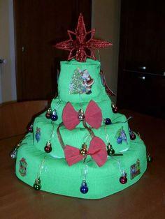 Torta di pannolini albero di natale diaper cake
