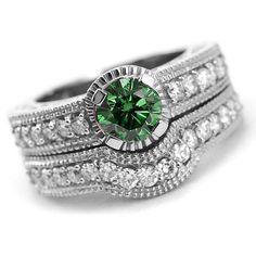 2.12 Carat Green Diamond Matching Engagement Ring & Stackable Wedding Band Bridal Set 14k White Yellow Rose Pink Gold Vintage Antique Style
