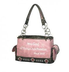 Quote Shoulder Bag W Rhinestones Scripture Collection Handbag Purse Pink