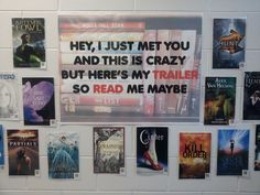 """Read Me Maybe"" - did my own version of Comsewogue Public Library's book display featuring QR codes and book trailers. #library displays"