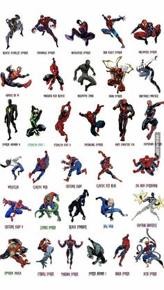 Well , Just a visual guide i made for you to know about the order of Costumes those Spiderman has used over 50 years. i only count Suits that Peter worn. Spiderman Costume changes over years Comics Anime, Bd Comics, Marvel Dc Comics, Marvel Heroes, Comic Book Characters, Marvel Characters, Comic Character, All Spiderman, Amazing Spiderman