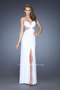 La Femme white strapless dress with crystal embellishments along the illusion cut out areas!  Great for prom...and for a beach, destination, or Vegas wedding!