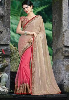 #Gajri #Pink and #Beige #Lycra And #Net Saree With #Blouse.  Gajri Pink and Beige Lycra And Net Saree designed with Zari,Resham Embroidery With Stone Work And Lace Border.  INR: 3,421.00  With Exclusive Discounts   Grab:http://tinyurl.com/h7xgyy9